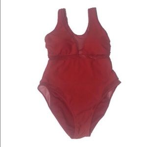 YMI Red Mesh Bathing Suit